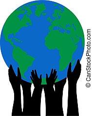 emberek, körvonal, birtok, földgolyó, kézbesít