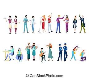 emberek, különféle, set., egyenruha, párosít, foglalkozás, gyűjtés