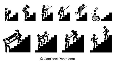 emberek, különféle, vagy, lépcsőház, lépcsősor.