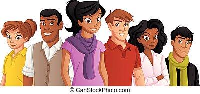 emberek., karikatúra, fiatal