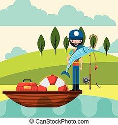 emberek, karikatúra, halászat