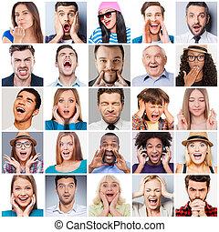 emberek, kevert, emotions., különböző, lőtávolság, életkor, kollázs, érzelmek, kifejez, különböző, multi-ethnic