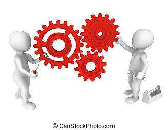 emberek, kicsi, fogaskerék-áttétel, eszközök, 3