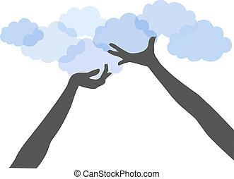 emberek, kiszámít, feláll, kézbesít, befolyás, felhő