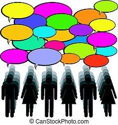 emberek, kommunikáció, beszéd, bubbles., fogalom