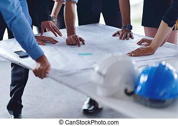 emberek, konstruál, gyűlés, szerkesztés, ügy