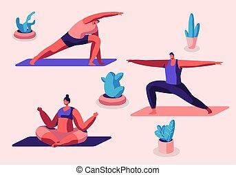 emberek, lótusz, mudra, padmasana, sport, yoga tompa, gyakorlás, jogi, osztály, lakás, férfiak, kifeszítő, ülés, tornaterem, póz, ábra, csoport, karikatúra, műterem, nők, gyakorló, vektor, testedzés