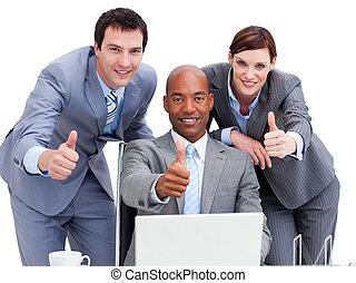 emberek, lapozgat, laptop, ügy, külső külső