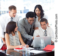 emberek, laptop, ügy, munka