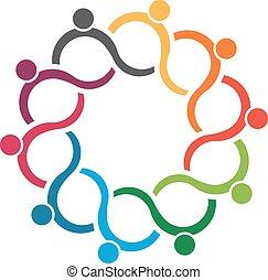 emberek, logo., befog, csoport, 10, lenget