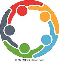 emberek, logo., karika, csoport, öt, személy