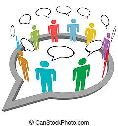 emberek, média, belső, beszéd, társadalmi, találkozik, beszél