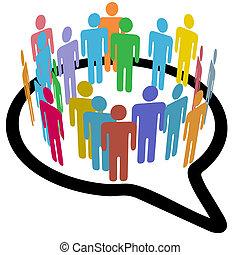 emberek, média, beszéd, belső, társadalmi, karika, buborék