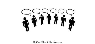 emberek, média, társadalmi, hálózat, összekapcsol, blog, jelkép