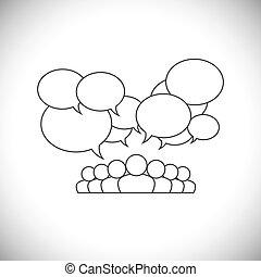 emberek, média, -, vektor, tervezés, társadalmi, kommunikáció, egyenes