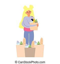 emberek, megvásárol, leány, pantalló, élelmiszer, élelmiszer áruház, hirdetőtábla, sok