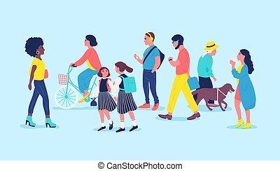 emberek, modern, style., város, lifestyle., gyerekek, lovaglás, városi, hallgat, lakás, bicikli, ábra, passersby, utca., karikatúra, nők, színezett, gyalogló, férfiak, által, vektor, lakók, elmenő, music., vagy