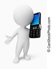 emberek, mozgatható, -, telefon, kicsi, 3