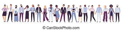 emberek., munkás, csoport, kereskedelmi ügynökség, együttes, multicultural, közösség, befog, vektor, ábra, üzletember, társaság