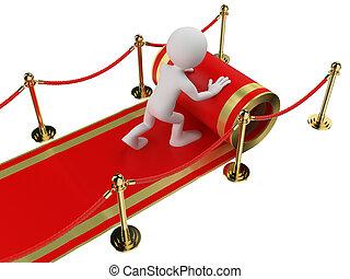 emberek., munkás, gördülő, fehér, szőnyeg, ki, piros, 3
