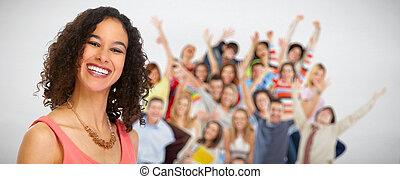 emberek., nő, csoport, fiatal, boldog