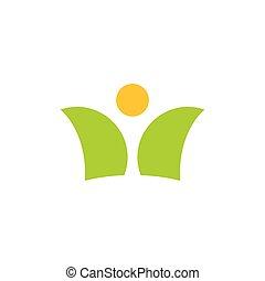emberek, nap, jel, levél növényen, vektor, természet, elvont, jelkép