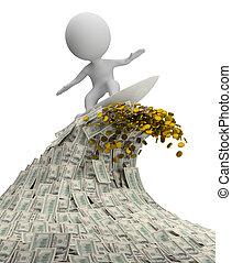 emberek, pénz, -, lenget, kicsi, 3