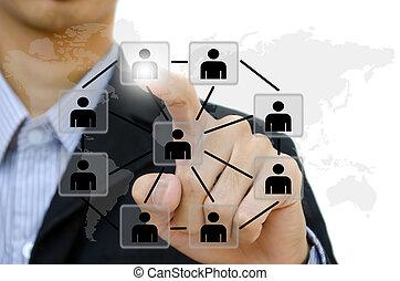 emberek, rámenős, társadalmi, hálózat, kommunikáció, ügy, whiteboard., fiatal