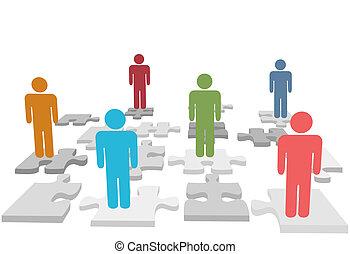 emberek, rejtvény, jigsaw munkadarab, áll, emberi találékonyság
