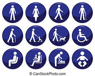 emberek, signage, állhatatos, ikon, gépel