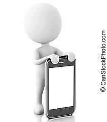 emberek, smartphone., következő, 3, fehér