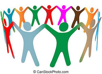 emberek, sok, jelkép, feláll, befest, különböző, kézbesít, karika, befolyás, keverék