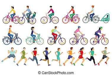 emberek, sport, futás, kerékpározás, időz
