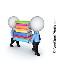 emberek, színes, books., 3, kicsi