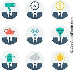 emberek, szakértelem, kommunikáció, betű, avatars, fogalom