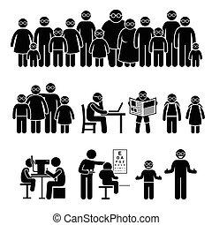 emberek, szemüveg, család, gyerekek, hord