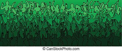 emberek, tánc, -green, tolong, nagy