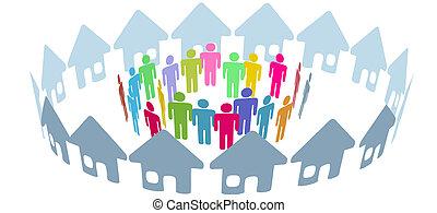 emberek, társadalmi, szomszéd, találkozik, otthon, karika