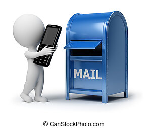 emberek, -, telefon, kicsi, postázás, 3