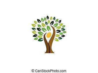 emberek, természetes, természet, wellness, jel, jelkép, jel, tervezés, egészség, fa, ikon, vektor