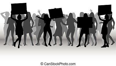 emberek, tiltakozás, tolong, silhouette.
