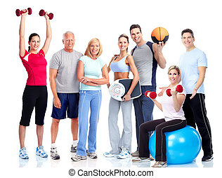 emberek., tornaterem, fitness., mosolygós