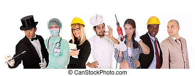emberek, változatosság, munkás