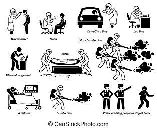 emberek, vírus, próba, cliparts., munkás, átvizsgálás, orvosi, fertőzés