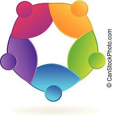 emberek, vektor, csapatmunka, társadalmi, jel, ikon