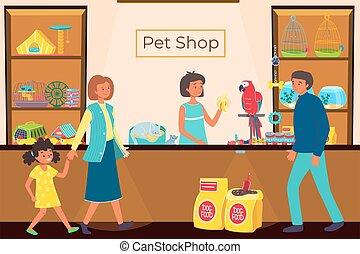 emberek, vektor, csinos, élelmiszer, kutyák, kedvenc, kevés, macska, sikeres, állatok, bolt, karikatúra, illustration., mód, ügy, bolt