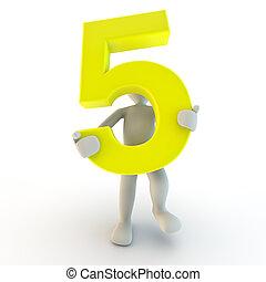 emberi emberek, betű, szám, sárga, birtok, kicsi, öt, 3