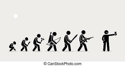 emberi, fegyver, történelem, timeline., fejlődés