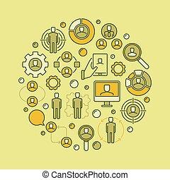 emberi, fogalom, erőforrás, ábra