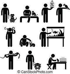emberi, kisállat, pictogram